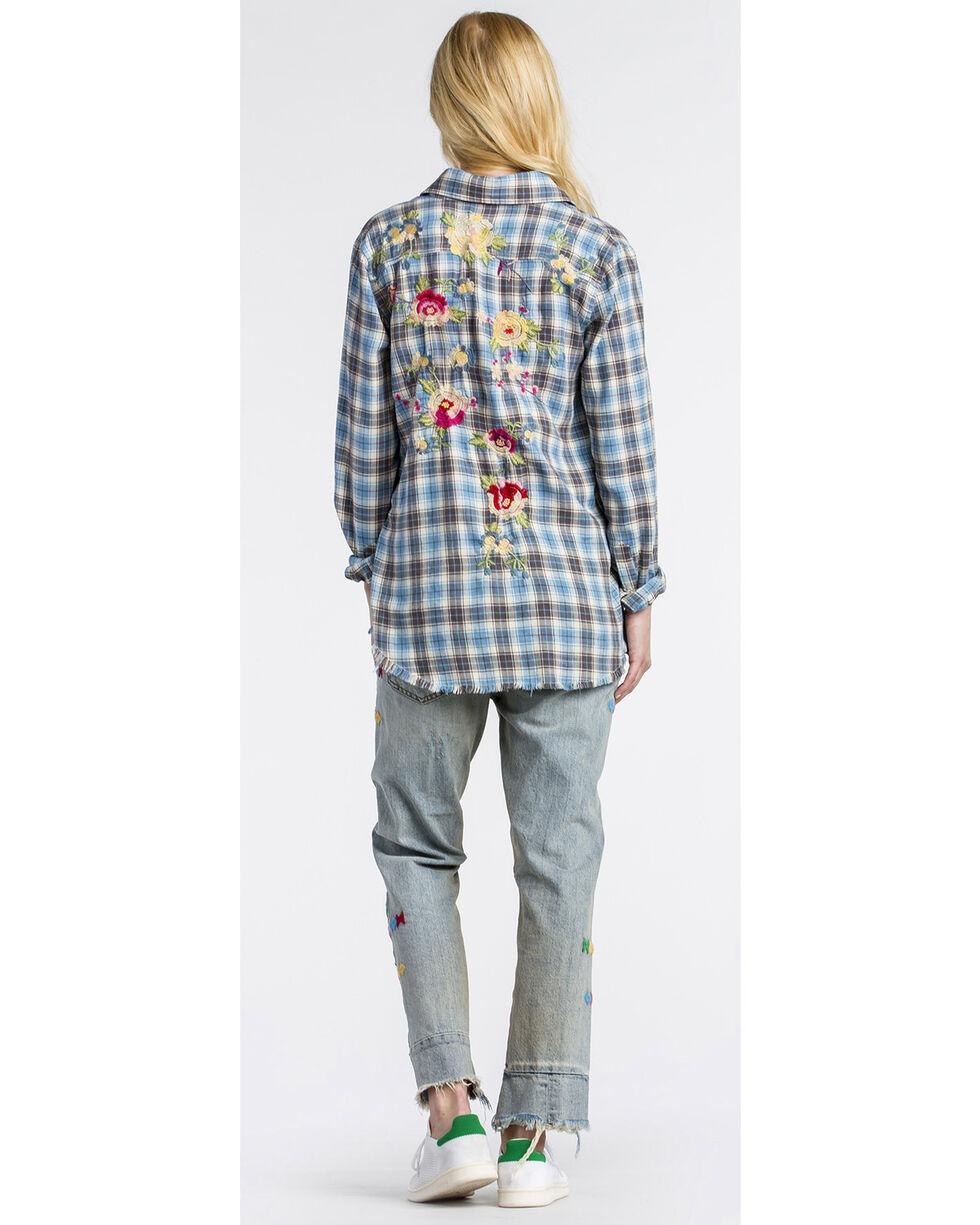 MM Vintage Women's Floral Embroidered Plaid Shirt , Blue, hi-res