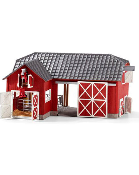 Schleich Black Angus and Large Farm Set , Red, hi-res