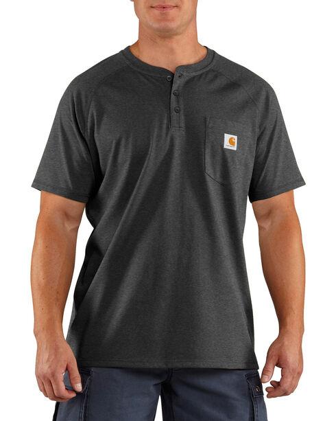 Carhartt Men's Heather Grey Force Cotton Delmont Short Sleeve Henley Shirt - Big, Heather Grey, hi-res