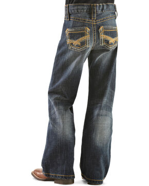 Wrangler Rock 47 Girls' Gold Embroidery Bootcut Jeans - 4-6X, Denim, hi-res