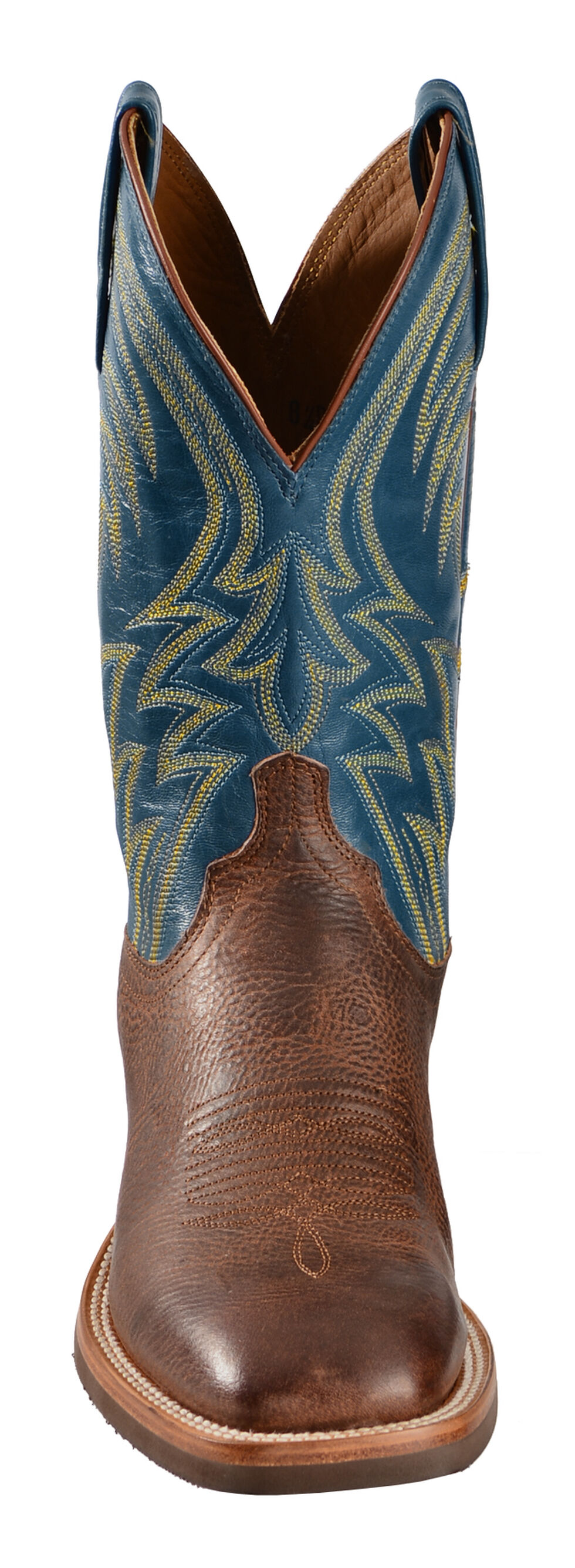 Lucchese Handmade Alan Smooth Cowhide Cowboy Boots - Square Toe , Cognac, hi-res