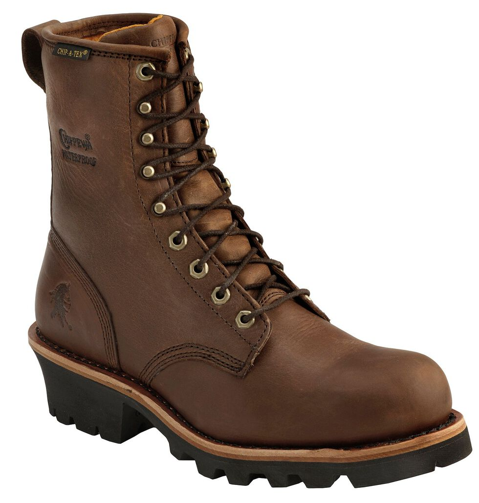 "Chippewa Bay Apache Waterproof 8"" Logger Boots - Steel Toe, Bay Apache, hi-res"