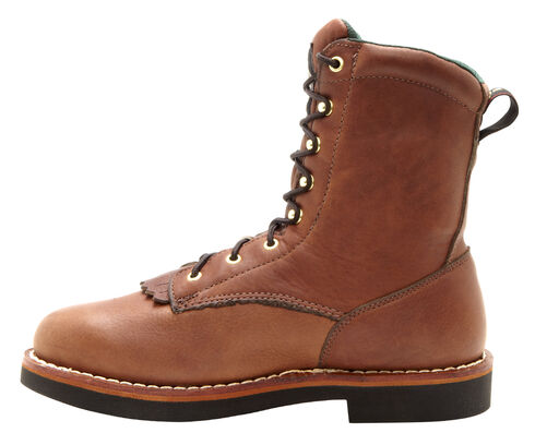 Georgia Farm and Ranch Lacer Work Boots - Round Toe, Walnut, hi-res