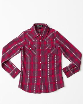 Shyanne Girls' Plaid Woven Core Long Sleeve Western Shirt , Burgundy, hi-res
