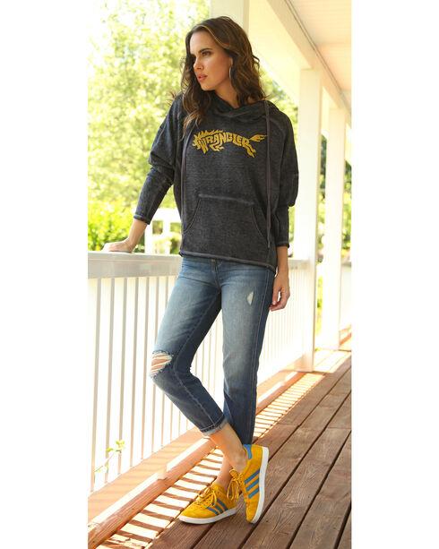 Wrangler Women's Logo Hooded Fleece Top, Navy, hi-res