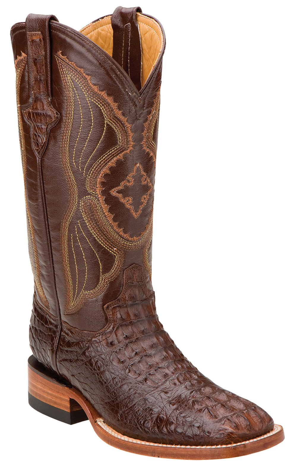 Ferrini Women's Hornback Caiman Cowgirl Boots - Square Toe, Rust, hi-res