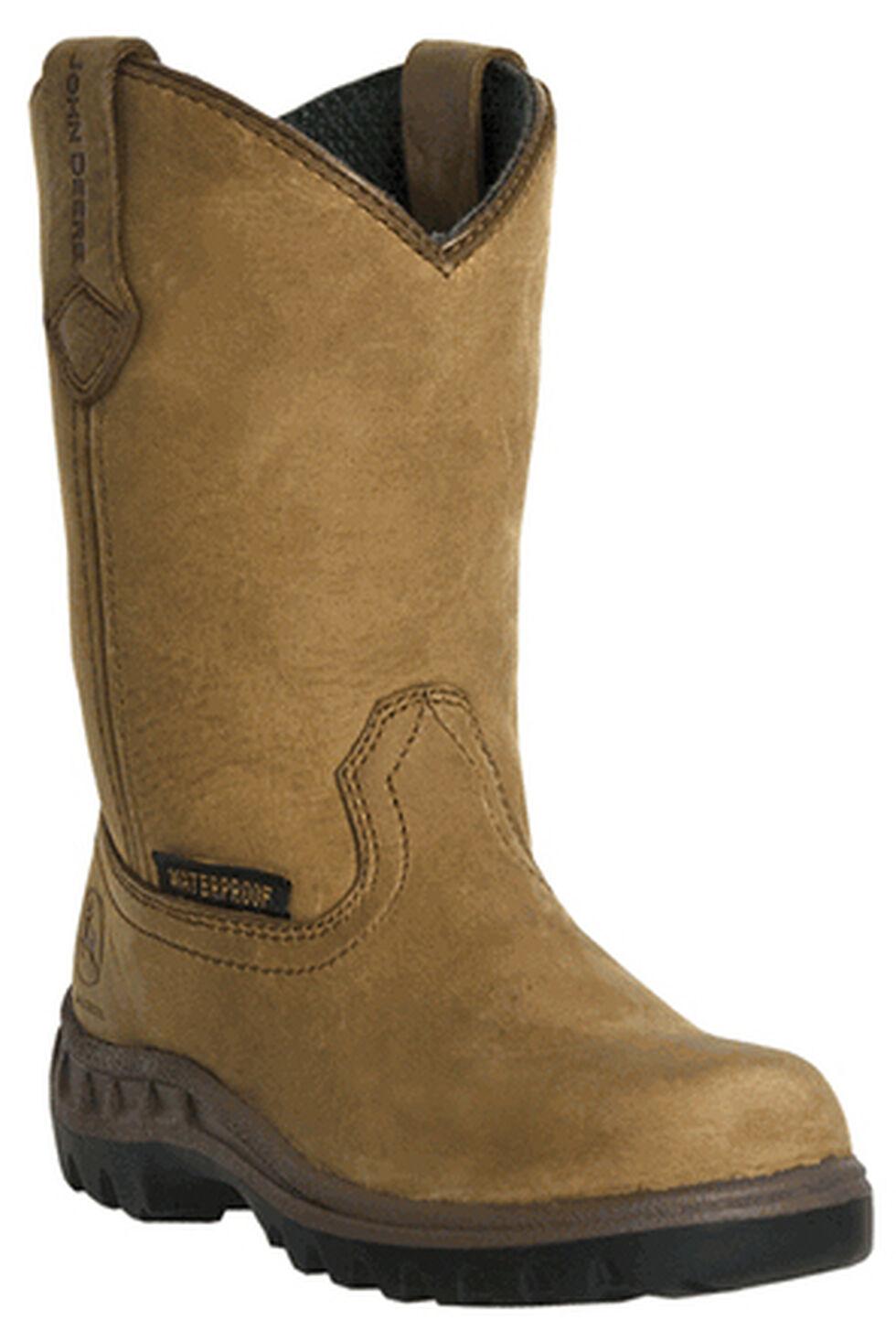 John Deere Youth Boys' Johnny Popper Waterproof Western Boots - Round Toe, Coffee, hi-res