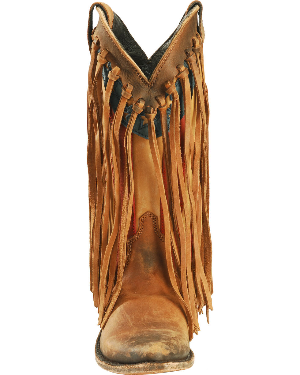 Liberty Black Brown American Flag Fringe Cowgirl Boots - Pointed Toe, Brown, hi-res