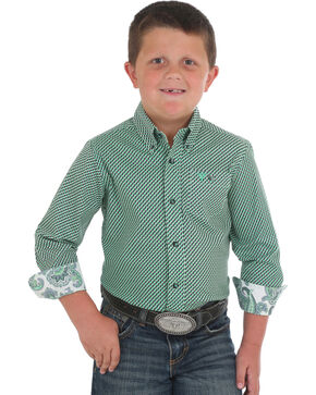 Wrangler Boys' Green 20X Competition Printed Shirt , Green, hi-res