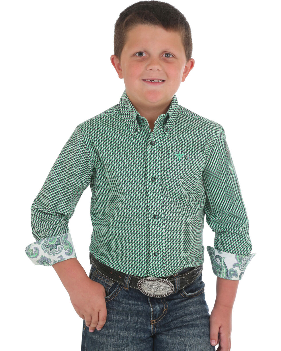 Wrangler Boys' Green 20X Competition Printed Shirt , Green, hi-res