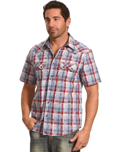 Cody James Men's Sidewinder Western Plaid Short Sleeve Shirt - Big and Tall, Grey, hi-res