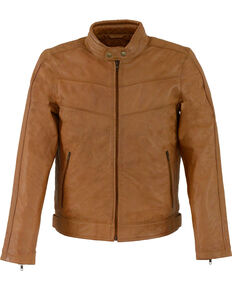 Milwaukee Leather Men's Tan Stand Up Collar Leather Jacket  - 5X, Tan, hi-res