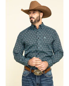 Ariat Men's Iradell Stretch Geo Print Long Sleeve Western Shirt , Black, hi-res
