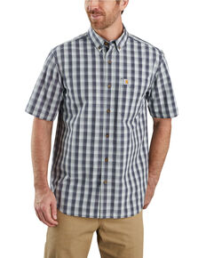 Carhartt Men's Blue Rugged Flex Bozeman Plaid Short Sleeve Work Shirt - Big , Blue, hi-res
