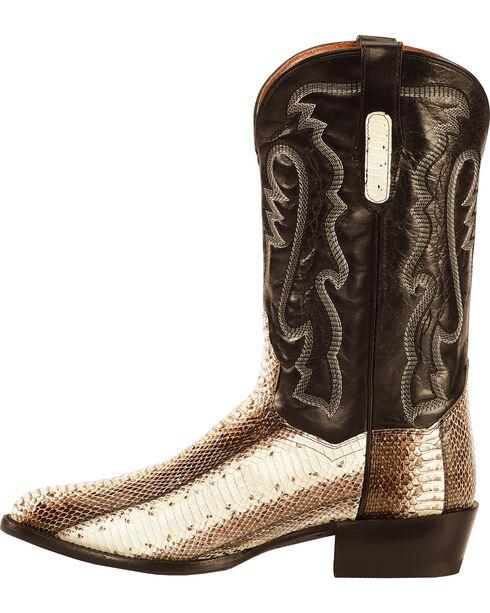 Dan Post Men's Two Tone Water Snake Cowboy Boots - Round Toe , Natural, hi-res