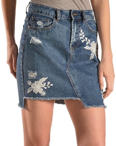 Velvet Heart Women's Floral Embroidered Distressed Denim Skirt, Blue, hi-res