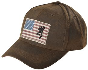 Browning American Flag Buckmark Logo Cap, Brown, hi-res