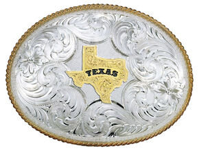 Montana Silversmiths Twisted Rope Texas Belt Buckle, Multi, hi-res