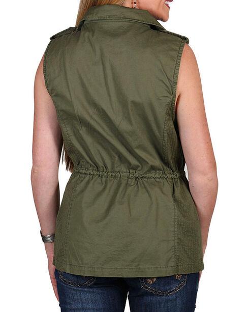 Per Se Women's Military Cinch Waist Vest, Olive, hi-res