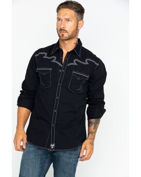 Wrangler Rock 47 Men's Contrast Stitching Western Shirt , Black, hi-res