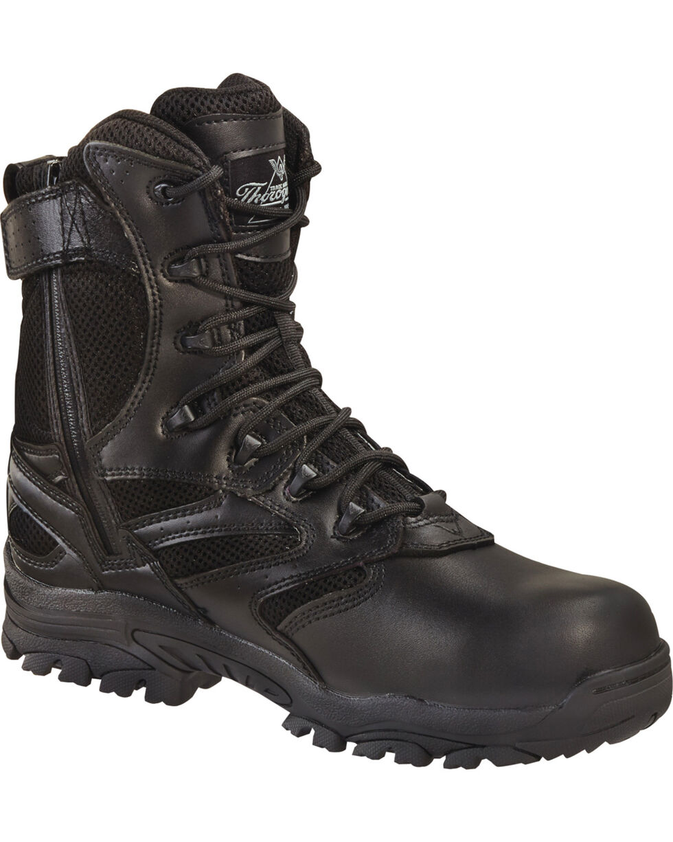 "Thorogood Men's Deuce 8"" Waterproof Puncture Resistant Side Zip Work Boots - Composite Toe, Black, hi-res"