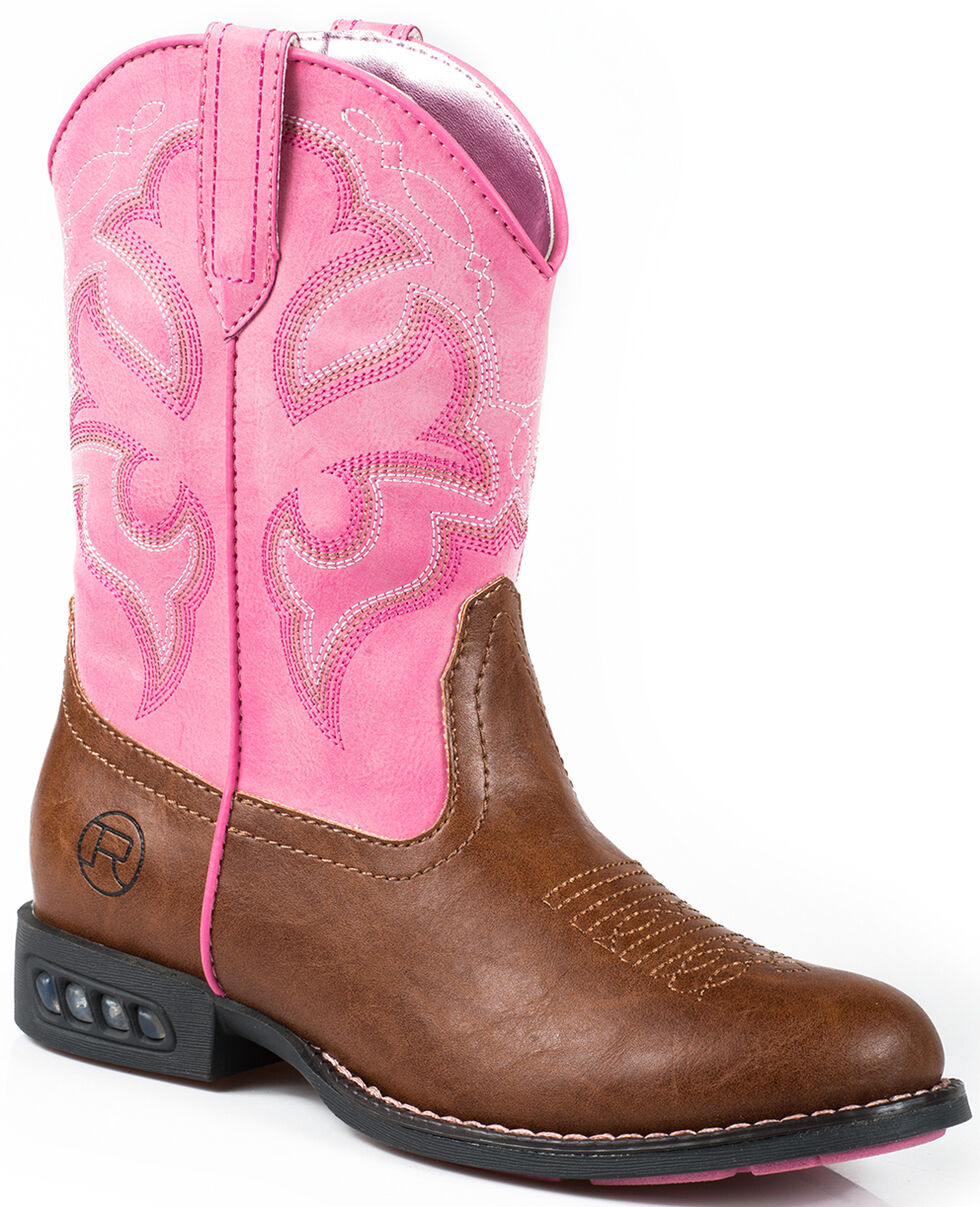 Roper Youth Girls' Pink Light-Up Cowgirl Boots - Round Toe  , Tan, hi-res