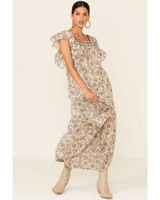 Free People Women's Bonita Floral Print Flutter Sleeve Midi Dress, Natural, hi-res