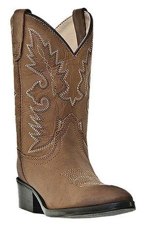 Dan Post Boys' Shane Cowboy Boots - Round Toe, Brown, hi-res