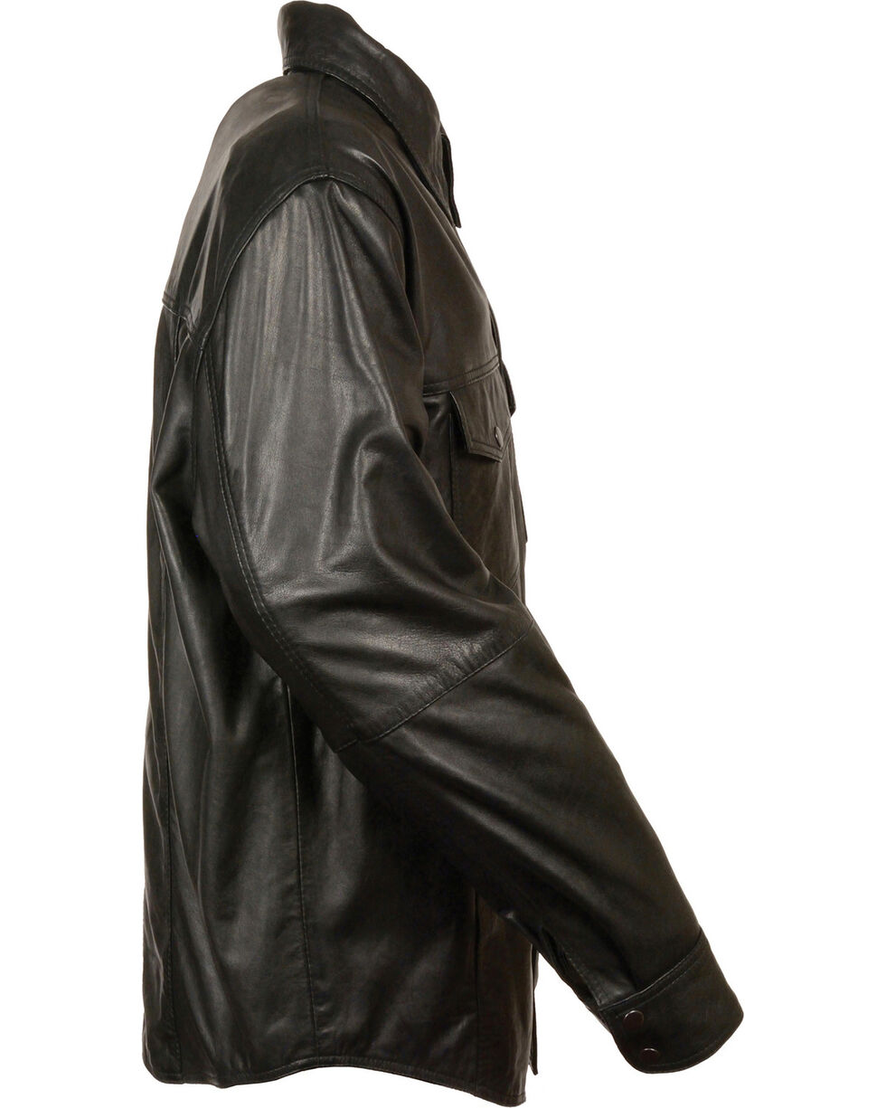 Milwaukee Leather Men's Black Lightweight Leather Shirt - Big 5X, Black, hi-res