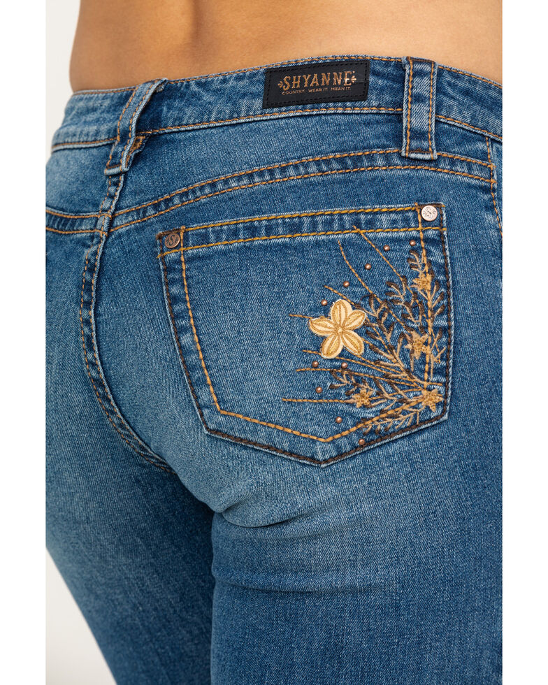 Shyanne Women's Medium 3D Floral Bootcut Jeans, Blue, hi-res