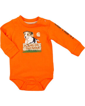 Carhartt Infant Boys' Orange Always On The Move Onesie , Orange, hi-res