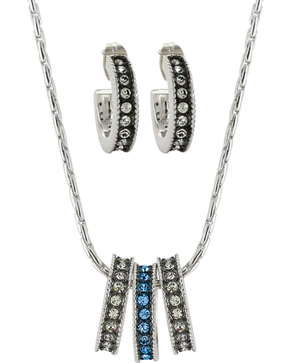 Montana Silversmiths Women's Once In A Blue Moon Jewelry Set , Silver, hi-res
