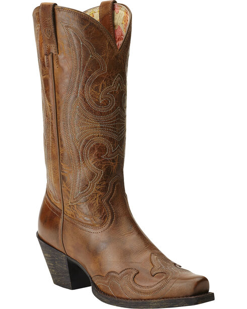 Ariat Round Up Sandstorm Cowgirl Boots - Snip Toe, Brown, hi-res