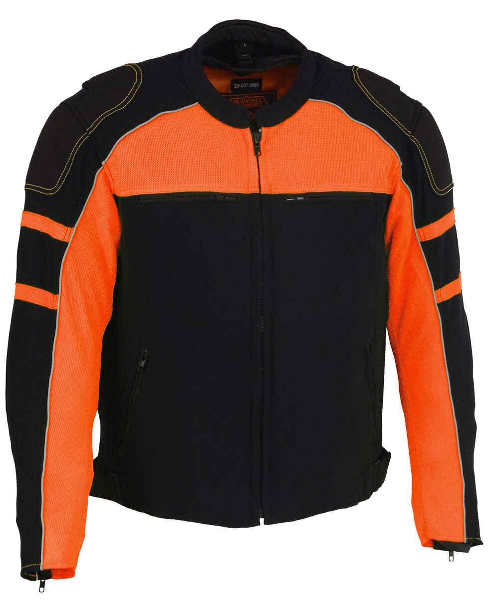 Milwaukee Leather Men's Mesh Racing Jacket with Removable Rain Jacket Liner - 5X, , hi-res