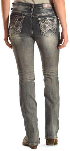 Grace in LA Women's Medium Wash Abstract Jeans - Bootcut , Indigo, hi-res