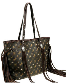Montana West Women's Signature Monogram Collection Wide Tote Handbag , Coffee, hi-res