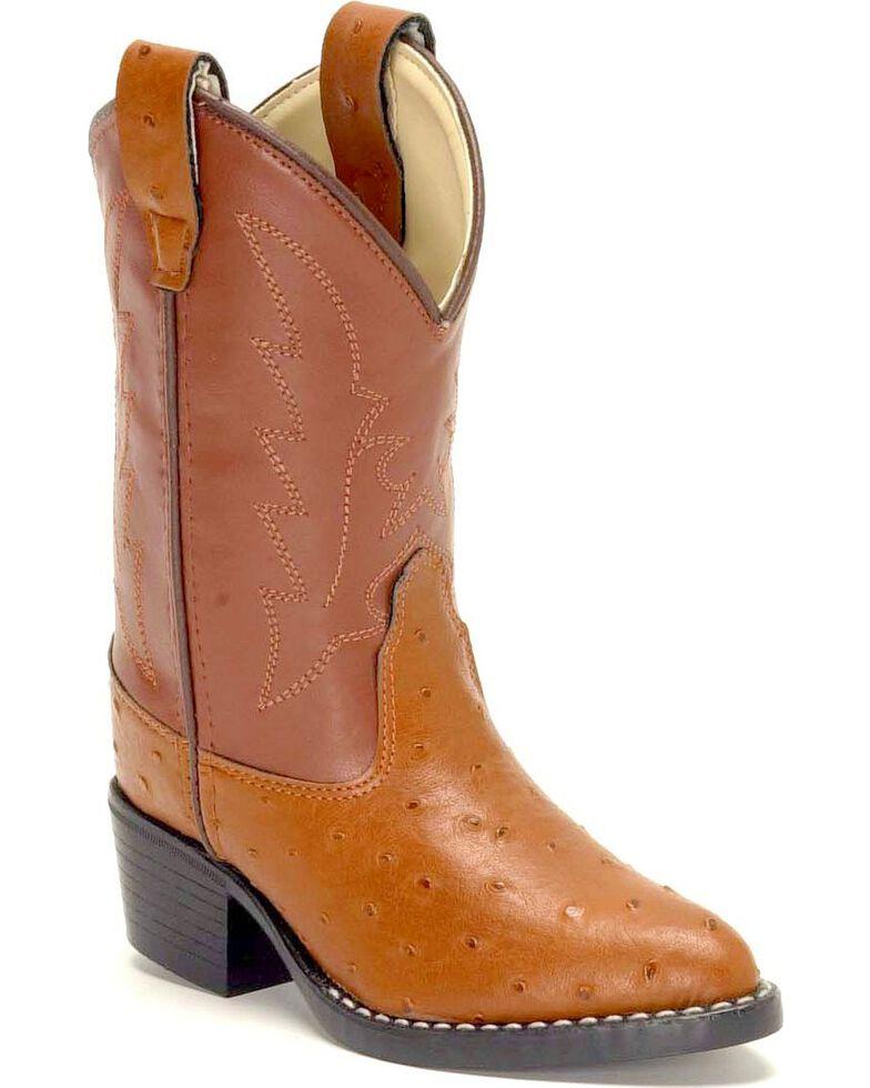 Old West Boys' Ostrich Print Cowboy Boots, Cognac, hi-res