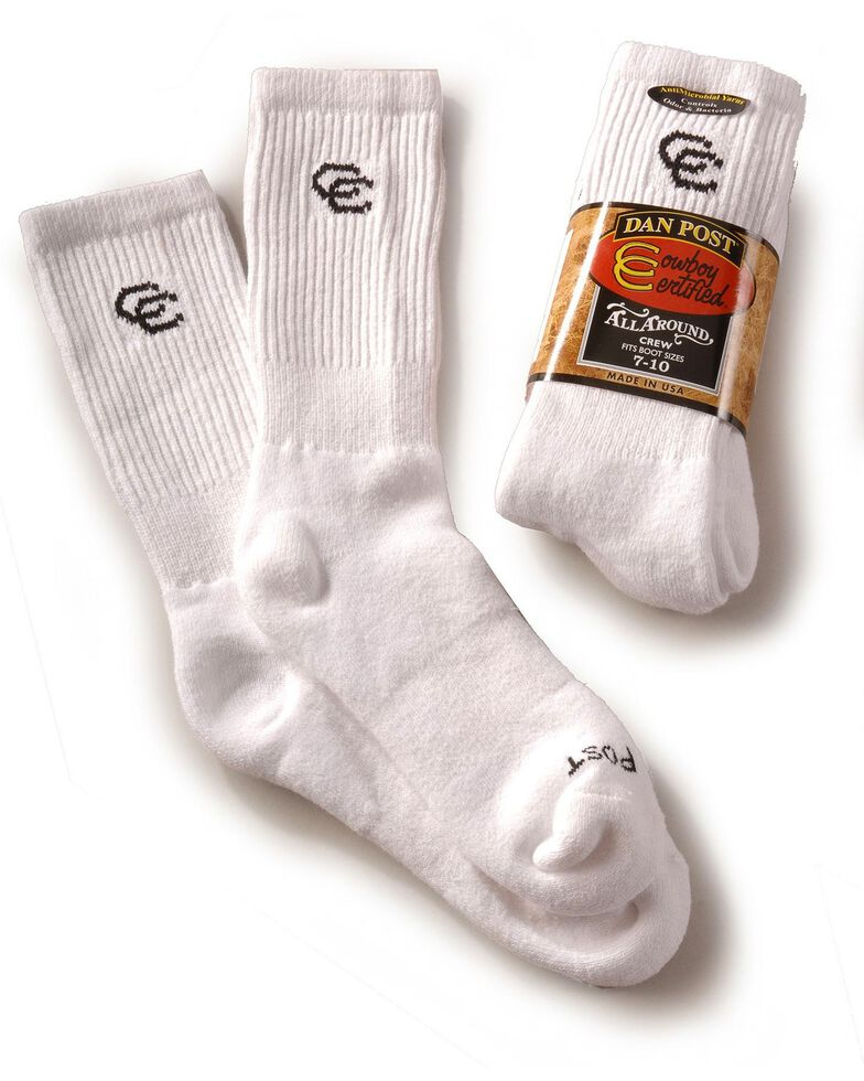 Dan Post Men's Cowboy Certified Crew Socks (2-Pack) - Sizes 7-10, White, hi-res