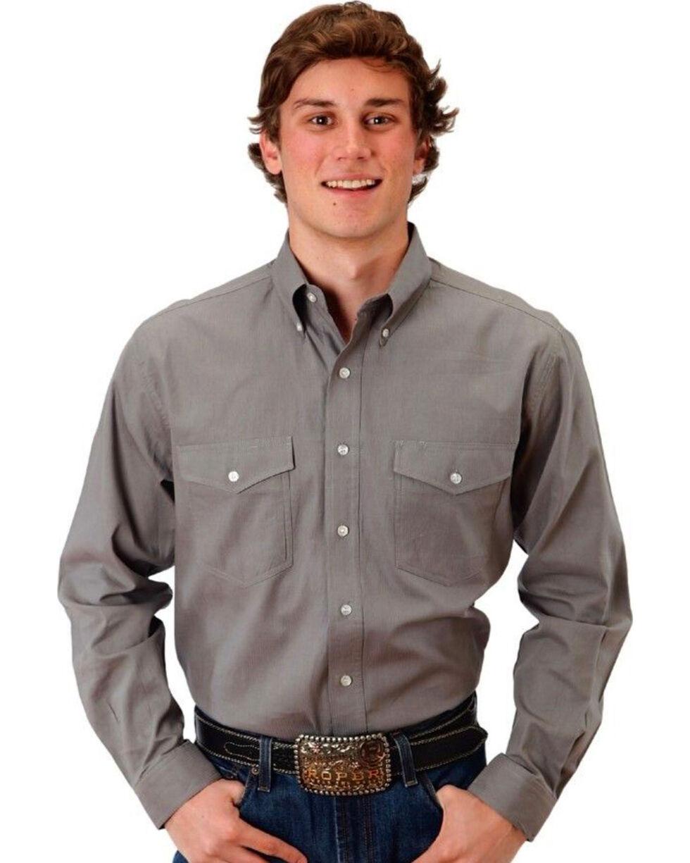 Roper Men's Solid Charcoal Long Sleeve Button Down Shirt, Grey, hi-res