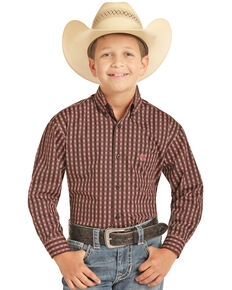 Panhandle Boys' Orange Geo Print Long Sleeve Western Shirt , Orange, hi-res