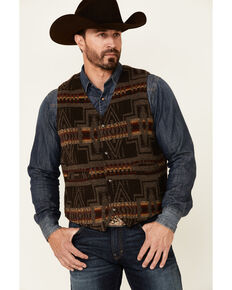 Outback Trading Co. Brown Owen Aztec Print Snap-Front Vest, Brown, hi-res