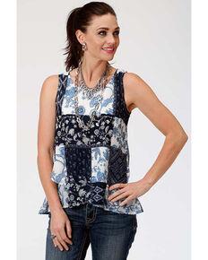 Studio West Women's Floral Patchwork Tank Top, Blue, hi-res