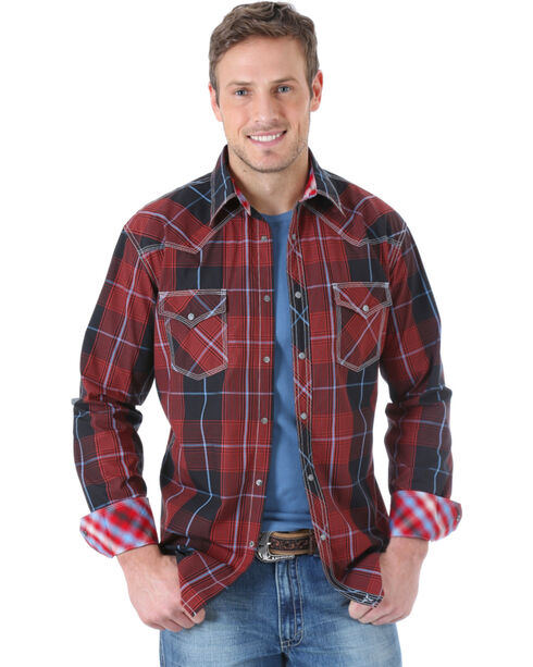 Wrangler Men's 20X Red and Grey Plaid Western Shirt , Red, hi-res