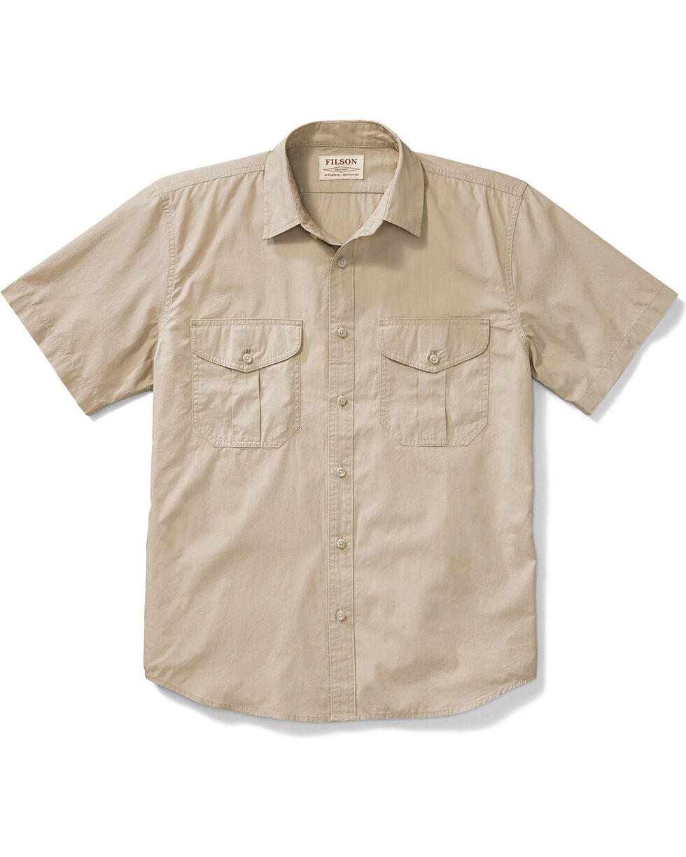 Filson Men's Desert Tan Feather Cloth Short Sleeve Shirt , Tan, hi-res