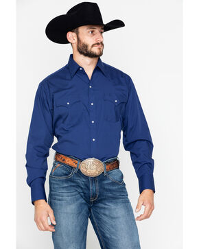 Ely Cattleman Men's Solid Long Sleeve Shirt , Navy, hi-res