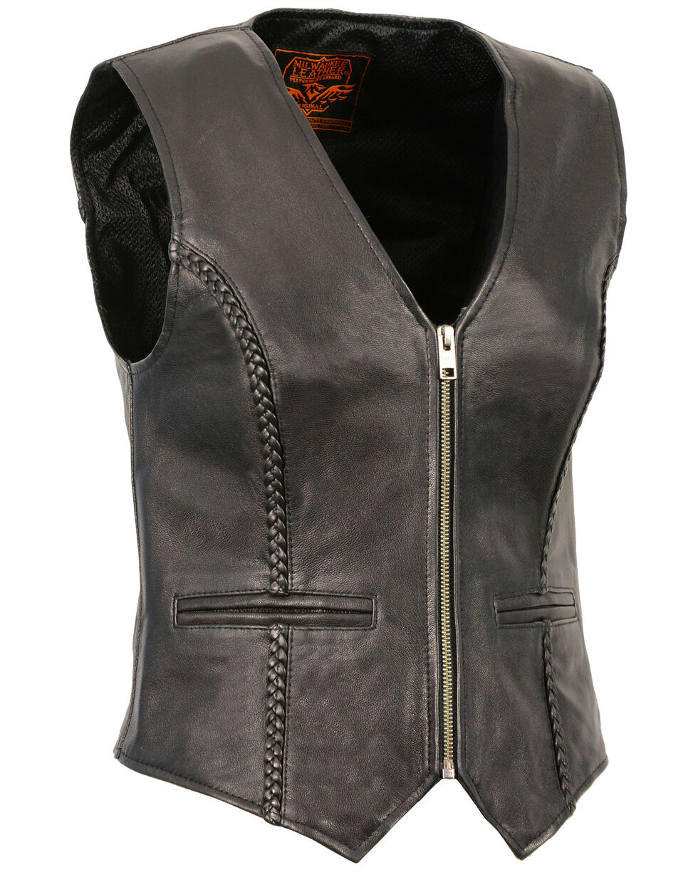 Milwaukee Leather Women's Lightweight Zipper Front Braided Vest - 5X, Black, hi-res