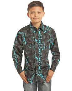 Rock & Roll Denim Boys' Vertical Aztec Print Long Sleeve Western Shirt , Black, hi-res