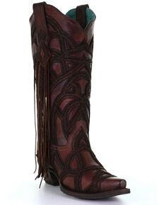 Corral Women's Tan Overlay Western Boots - Snip Toe, Tan, hi-res