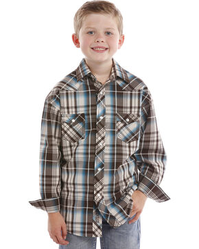 Rock & Roll Cowboy Boys' Turquoise Plaid Snap Shirt , Turquoise, hi-res