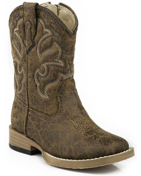 Roper Toddler  Boys' Distressed Faux Leather Cowboy Boots - Square Toe, Tan, hi-res